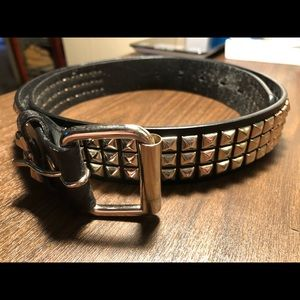 Other - Black leather mens belt with silver studs. Size 36